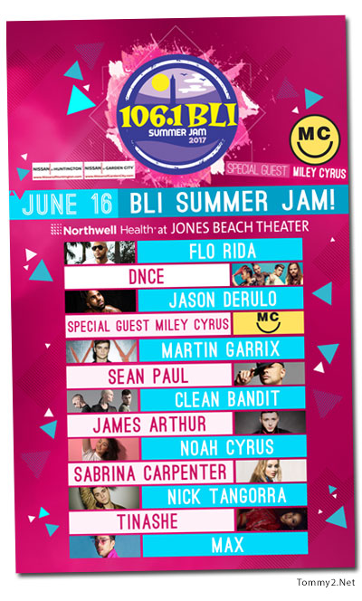 106 1 Bli Has Announced The Lineup For Their Summer Jam 2017 On June 16th It Will Include Sabrina Carpenter Tinashe Max Dnce Miley Cyrus Noah